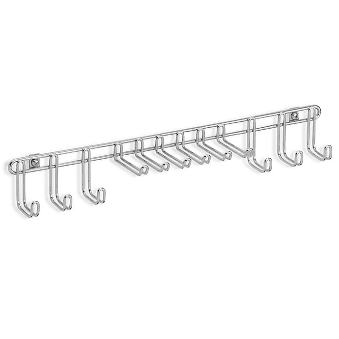 Alternate image 1 for InterDesign® Classico 12-Hook Wall-Mount Tie/Belt Rack in Chrome