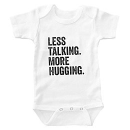 "Posh365 ""Less Talking. More Hugging."" Bodysuit in White"