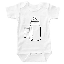 Posh365 Baby Bottle Bodysuit in White
