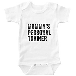 """Posh365 """"Mommy's Personal Trainer"""" Bodysuit in White"""