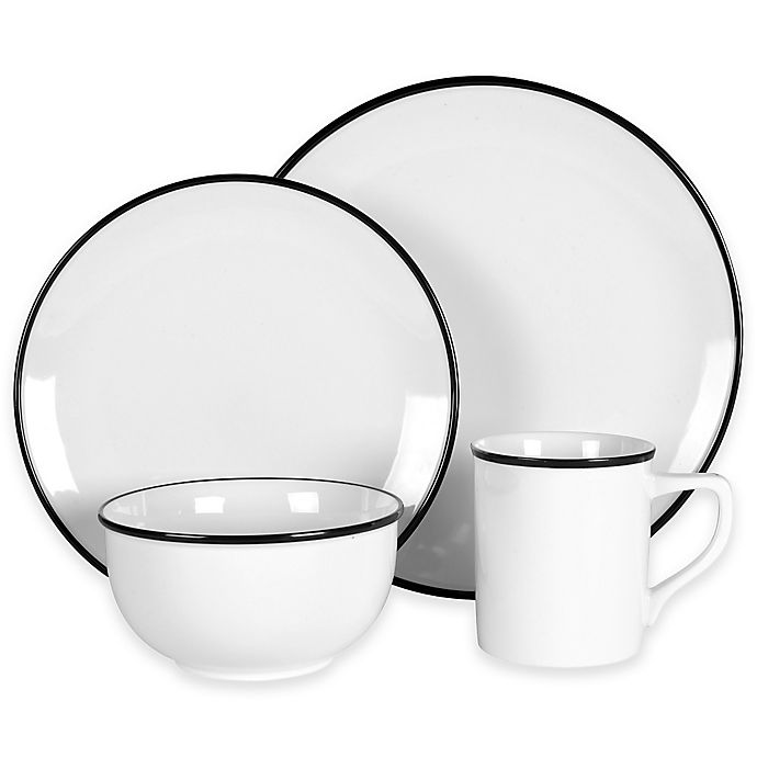 Alternate image 1 for Everyday White® by Fitz and Floyd® Black Rim Dinnerware Collection