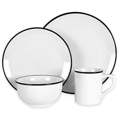 Everyday White®  by Fitz and Floyd® Black Rim Dinnerware