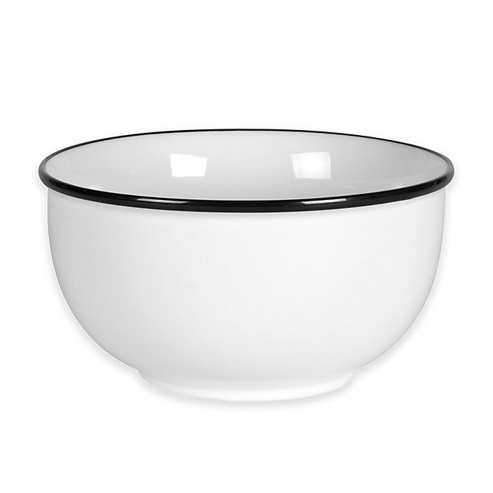 Alternate image 1 for Everyday White®  by Fitz and Floyd® Black Rim Soup Bowl
