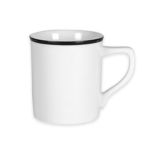 Alternate image 1 for Everyday White®  by Fitz and Floyd® Black Rim Mug