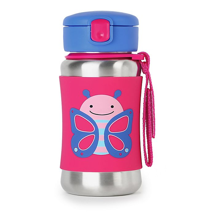 Alternate image 1 for SKIP*HOP® Zoo 12 oz. Stainless Steel Butterfly Straw Bottle