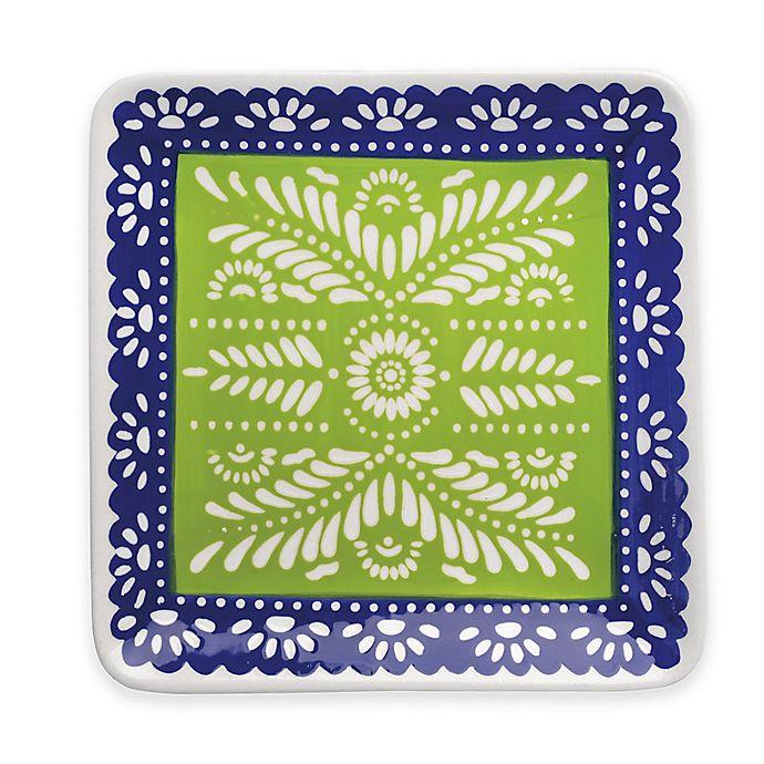 Alternate image 1 for Boston International Viva La Fiesta Square Platter in Green/Blue