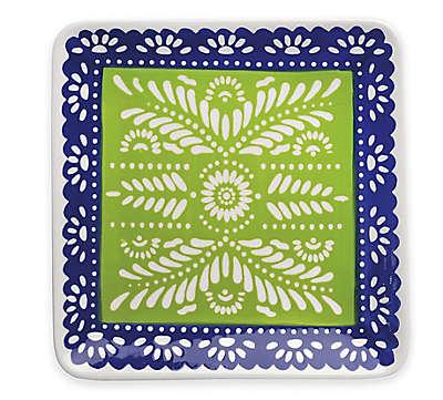 Boston International Viva La Fiesta Square Platter in Green/Blue