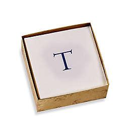 "Caspari Initial ""T"" Boxed Cocktail Napkin in Blue"