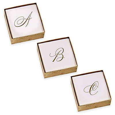 Caspari Script Initial Boxed Cocktail Napkin in Gold