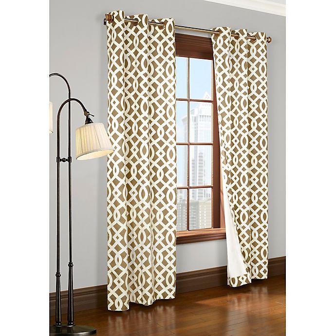 Alternate image 1 for Trellis 95-Inch Room-Darkening Grommet Window Curtain Panels in Khaki