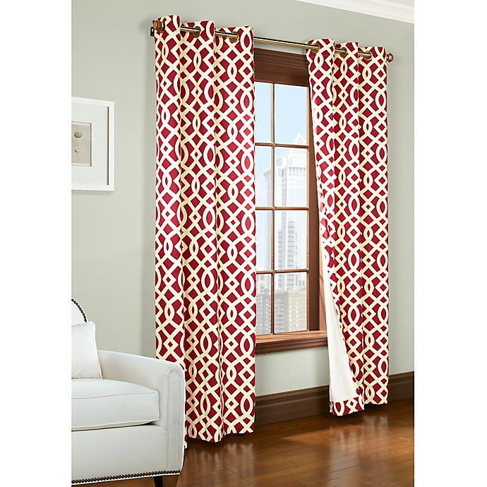 Alternate image 1 for Trellis 72-Inch Room-Darkening Grommet Window Curtain Panels in Red