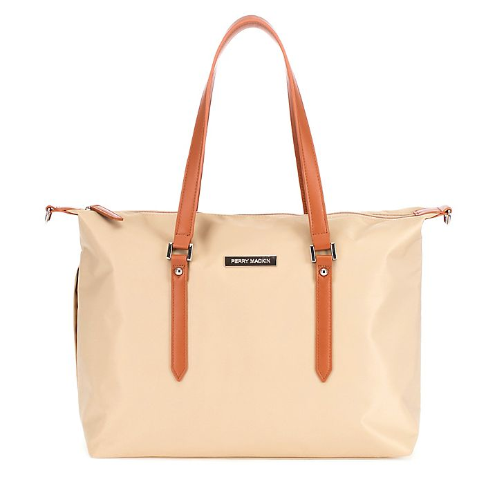 Alternate image 1 for Perry Mackin Ashley Diaper Bag in Beige