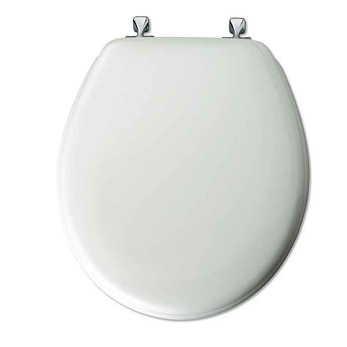 Mayfair Round White Molded Wood Toilet Seat With Chrome Hinge Bed