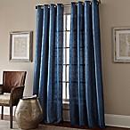 Manhattan 84-Inch Grommet Top Embroidered Window Curtain Panel in Cobalt