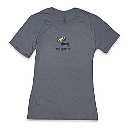"Teddy the Dog ""Get Over It"" Lightweight Tee in Heather Slate"