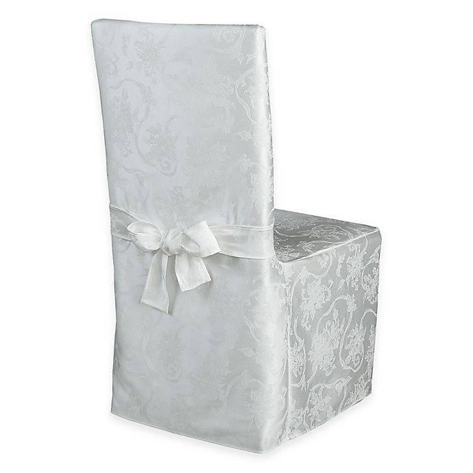 Alternate image 1 for Christmas Ribbons Dining Room Chair Cover in White