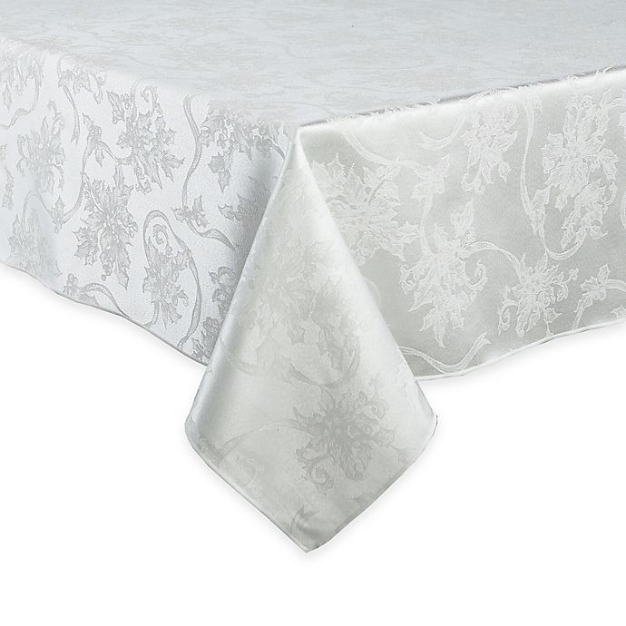Alternate image 1 for Christmas Ribbons 60-Inch x 144-Inch Oblong Tablecloth in White