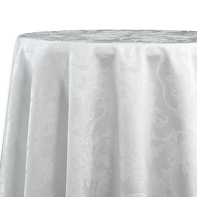 Alternate image 1 for Christmas Ribbons 70-Inch Round Tablecloth in White