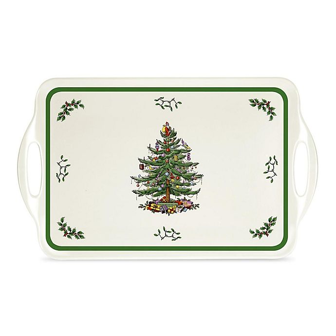 Alternate image 1 for Spode® Pimpernel Christmas Tree Large Handled Tray