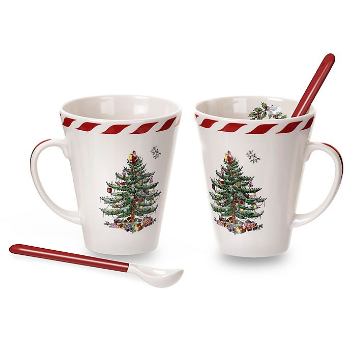 Alternate image 1 for Spode® Christmas Tree Peppermint Mugs with Spoons (Set of 2)