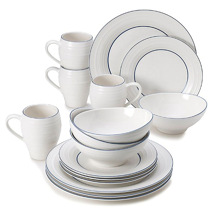 Alternate image 1 for Mikasa® Swirl Banded 16-Piece Dinnerware Set in Blue
