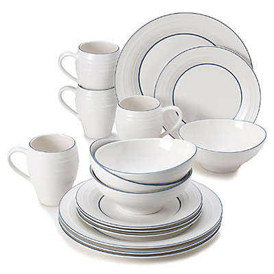 Mikasa® Swirl Banded 16-Piece Dinnerware Set in Blue