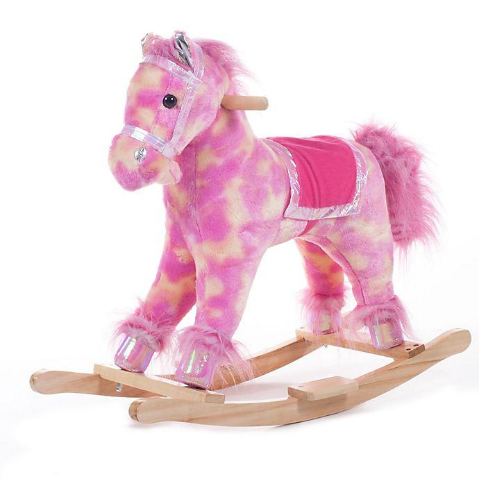 Alternate image 1 for Happy Trails Pink Plush Rocking Pony
