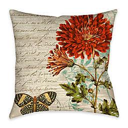 Wildflower Walk 2  Indoor/Outdoor Throw Pillow in Beige