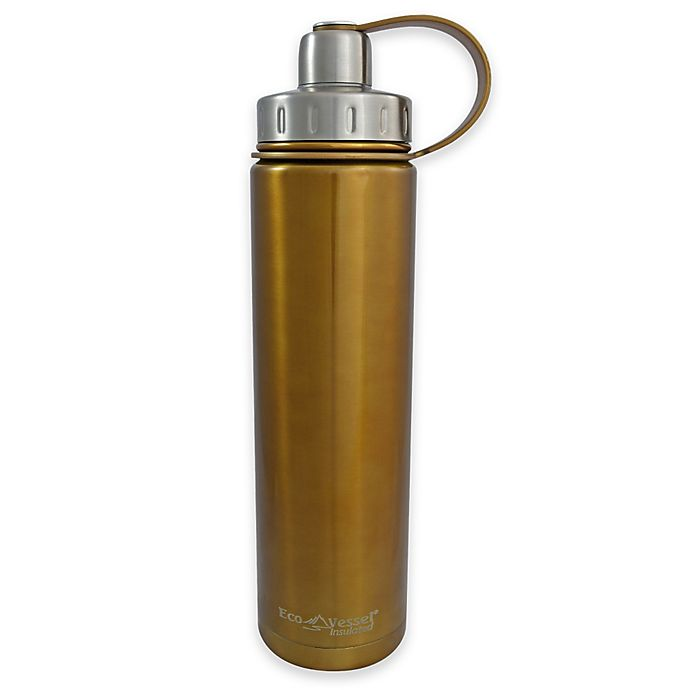 Alternate image 1 for Eco Vessel® BOULDER 24 oz. Insulated Stainless Steel Water Bottle in Golden