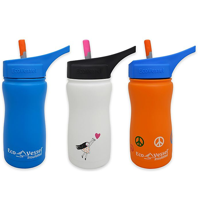 Alternate image 1 for Eco Vessel® FROST 13 oz. Insulated Kids Straw Top Water Bottle