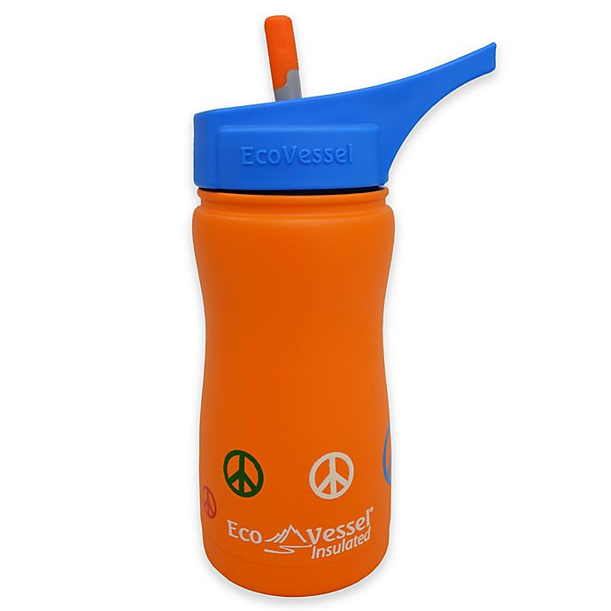 Alternate image 1 for Eco Vessel® FROST 13 oz. Insulated Kids Straw Top Water Bottle in Orange