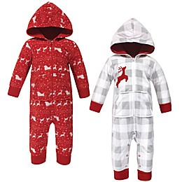 Hudson Baby® 2-Pack Hooded Fleece Jumpsuits