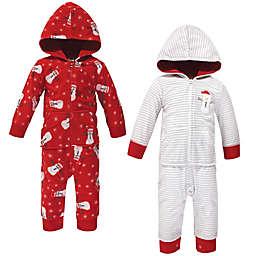 Hudson Baby® Size 0-3M 2-Pack Santa Snowman Hooded Fleece Jumpsuits