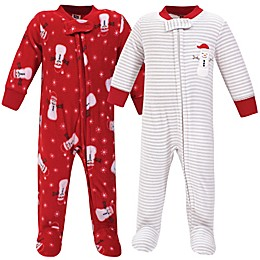 Hudson Baby® 2-Pack Christmas Dog Fleece Sleep N Play Footies in Red