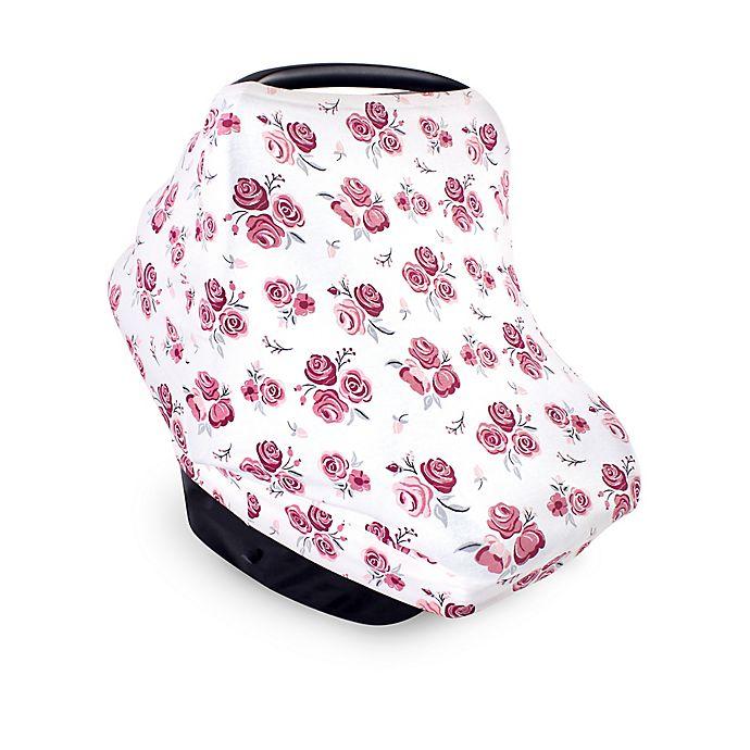 Alternate image 1 for Hudson Baby® Roses Car Seat Canopy in White/Magenta