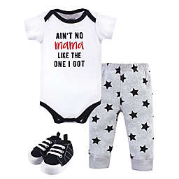 Little Treasure® 3-Piece Mama Bodysuit, Pant, and Shoe Set in White/Grey