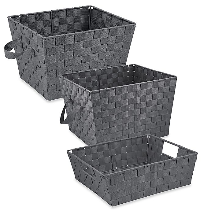 Alternate image 1 for Woven Storage Tote in Grey