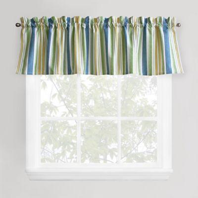 Cape Cod Stripe Window Valance In Blue Green Bed Bath