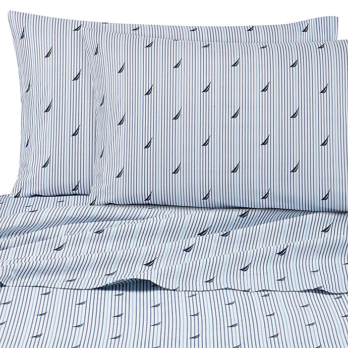 Alternate image 1 for Nautica® Audley 200-Thread-Count Twin XL Sheet Set in Blue