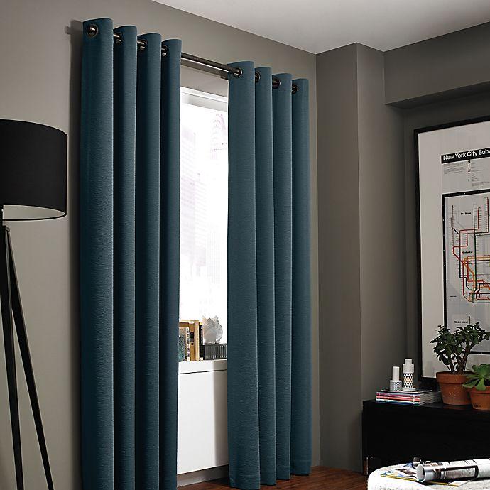 Alternate image 1 for Kenneth Cole Gotham 95-Inch Grommet Room Darkening Window Curtain Panel in Azure