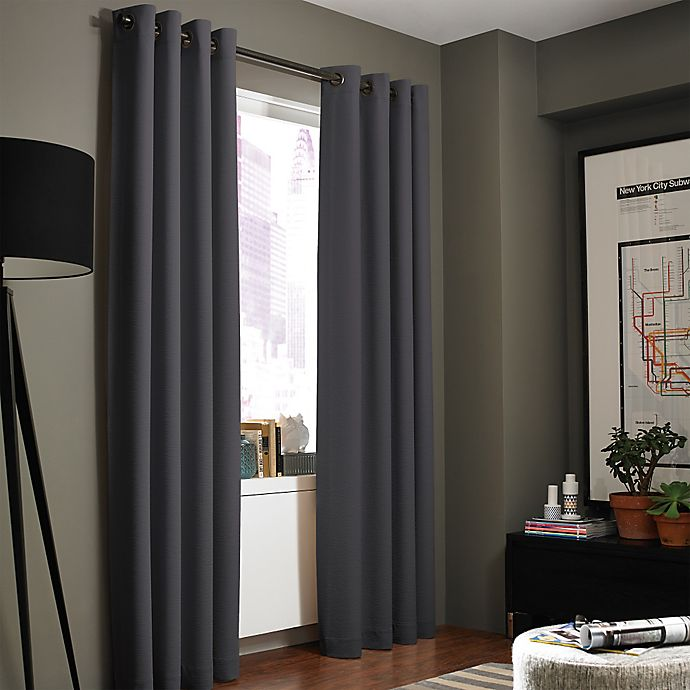 Alternate image 1 for Kenneth Cole Reaction Home Gotham Texture 95-Inch Lined Grommet Window Curtain Panel in Charcoal