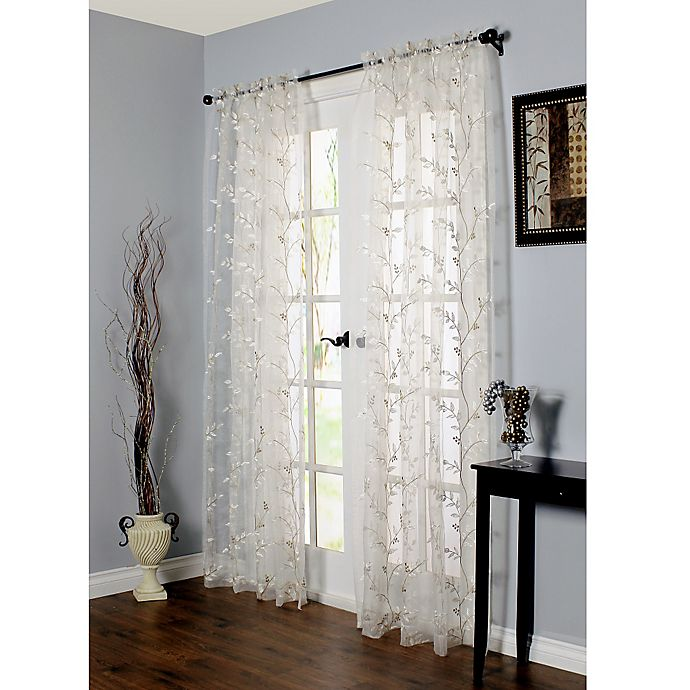 Alternate image 1 for Venice Embroidered Sheer Window Curtain Panel in White (Single)