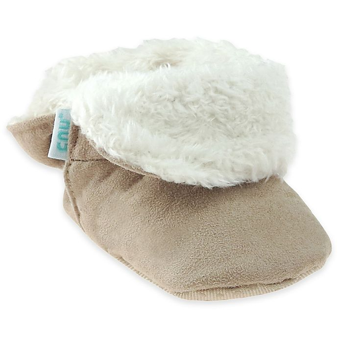 Alternate image 1 for Capelli New York Faux Suede Fold-Over Slippers in Tan