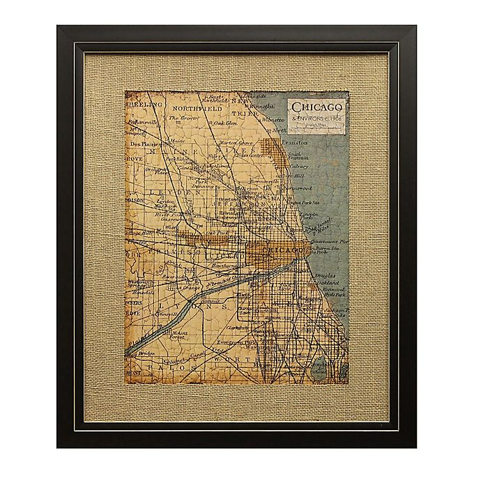 Alternate image 1 for Art Environs Chicago Map 18-Inch x 22-Inch Framed Wall Art