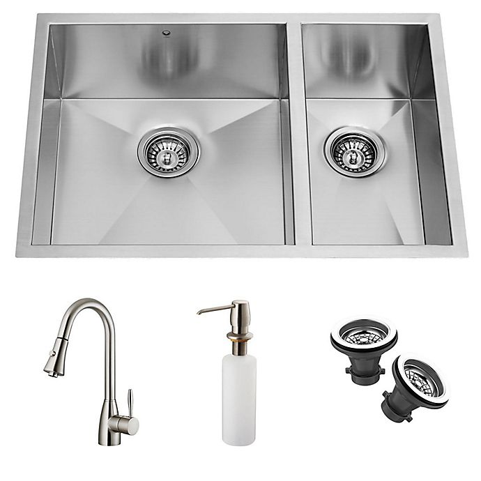 Alternate image 1 for Vigo 5-Piece VG15026 22.3-Inch x 33-Inch Undermount Stainless Steel Double Sink and Faucet Set