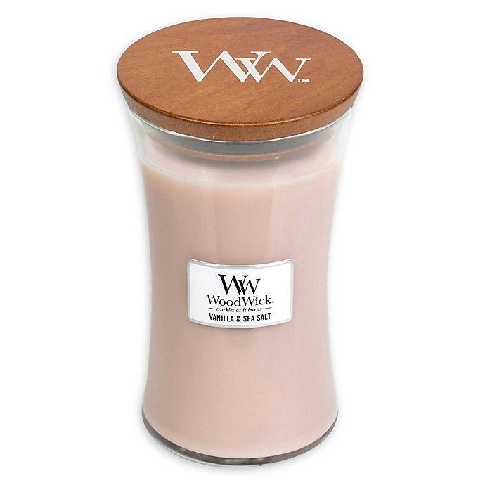 Alternate image 1 for WoodWick® Vanilla & Sea Salt Large Hourglass Jar Candle