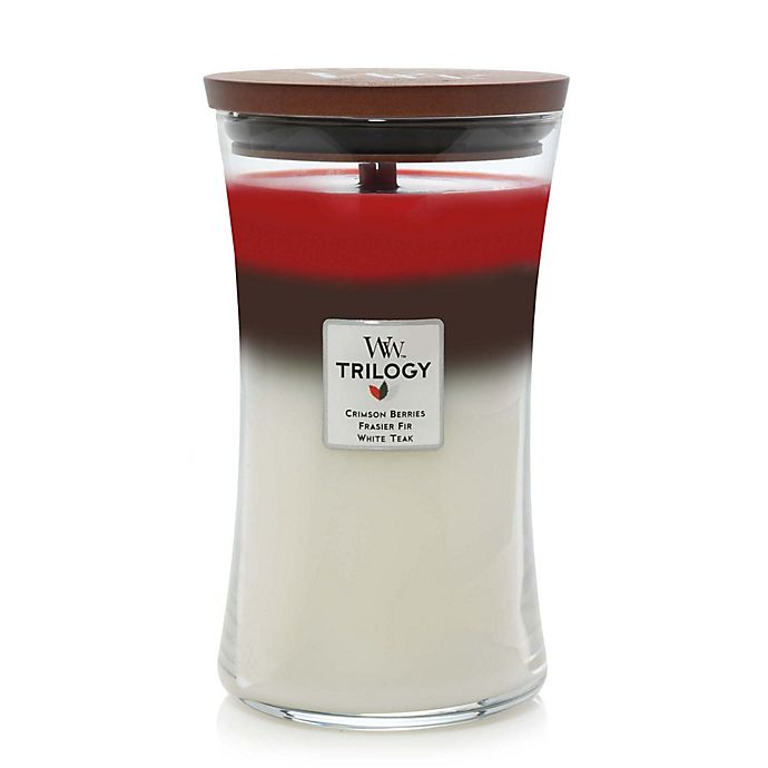 Alternate image 1 for WoodWick® Trilogy Winter Garland Large Hourglass Jar Candle