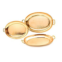 Old Dutch International 3-Piece Hammered Oval Copper-Plated Tray Set