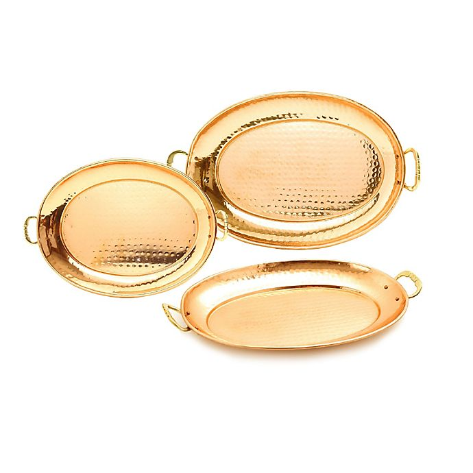 Alternate image 1 for Old Dutch International 3-Piece Hammered Oval Copper-Plated Tray Set