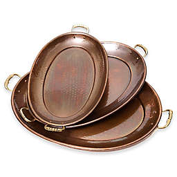 Old Dutch International Décor Antique Copper 3-Piece Oval Tray Set
